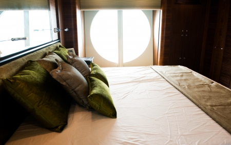 13924143 - magnificent bedroom on a luxury yacht.